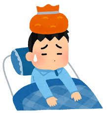 風邪をひいて寝ている子供