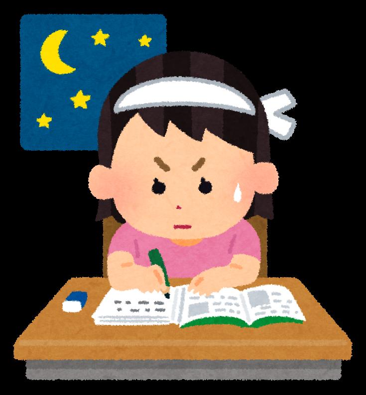夜遅くまで勉強する学生